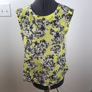 Yellow floral tank with eyelet detailed back